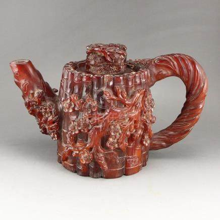 Chinese Qing Dynasty Ox Horn High Relief Big Teapot