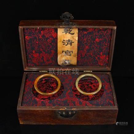A Pair Hetian Jade Bracelets w Lacquerware Box
