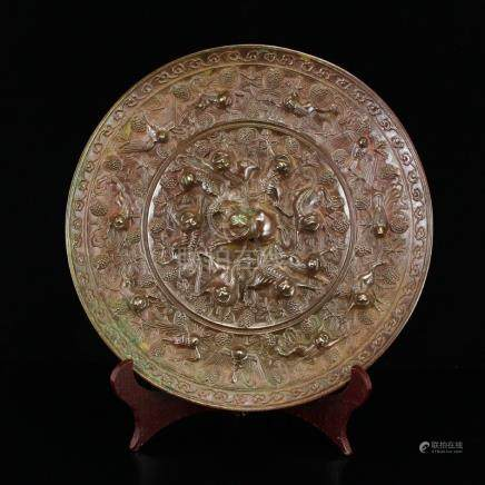 Chinese Tang Dy Sea Beasts Design Bronze Mirror