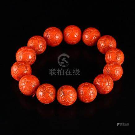16 MM Chinese Natural Red Agate Beads Bracelet
