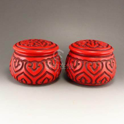 A Pair Vintage Chinese Red Lacquerware Weiqi Chess Pot