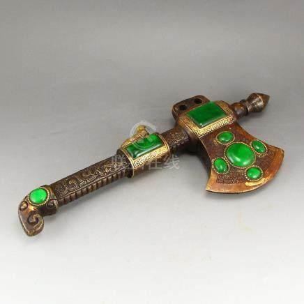 Vintage Chinese Brass Inlay Green Jadeite Axe