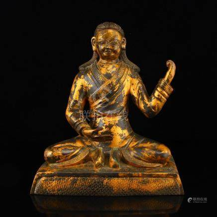 Vintage Chinese Gilt Gold Red Copper Figure Statue