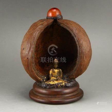 Vintage Gilt Gold Bronze Siddhartha Buddha Statue