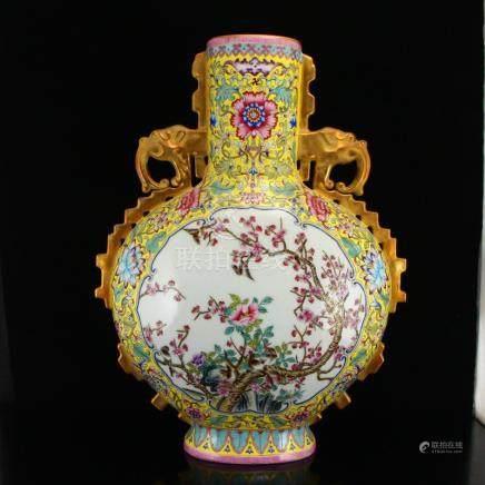 Qing Dy Gilt Gold Famille Rose Porcelain Phoenix Vase