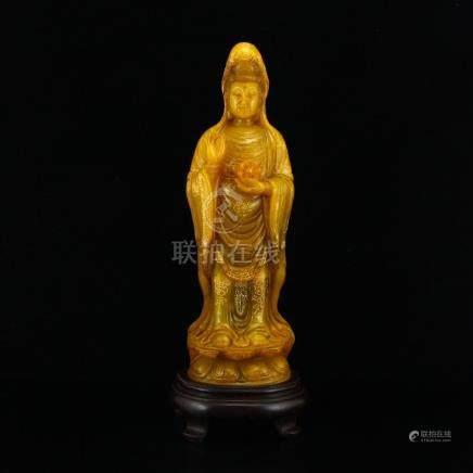 Chinese Gilt Gold Shoushan Stone Kwan-yin Statue