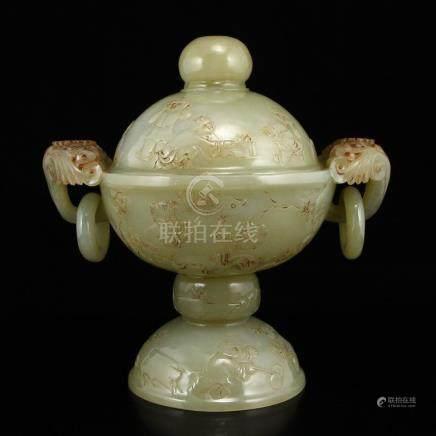 Vintage Chinese Hetian Jade Double Rings Incense Burner