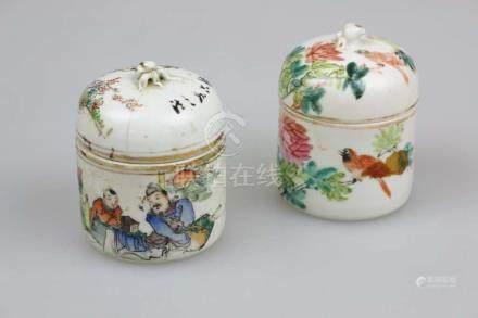 Paar Sake Wärmer, Porzellan, China, Blumendekor und figürliche Darstellung, mit Schriftzug. H. ca.