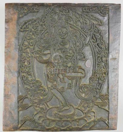 Druckmodel, Indien, Holz. Maße: 32 x 28,5 cm.
