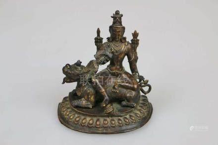 Kuan Yin, Tibet, Metallguss, H. 15,5 cm.