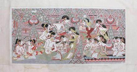 R. WIDOSOEPOMO (Künstler des 20./21. Jh.), Indonesien, große vielfarbige Stoffmalerei, höfische