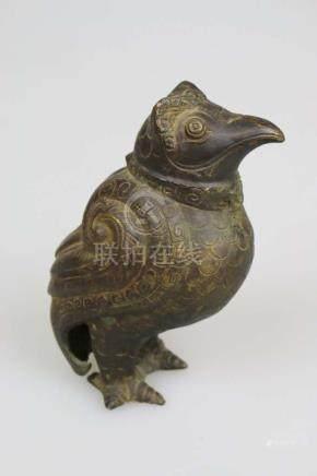 Vogelfigur, Indien, Metall, 19./20. Jh., H. 17,5 cm.