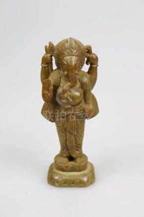 Indien, Statuette des Ganesha, Speckstein, Indien, H. ca. 20 cm.