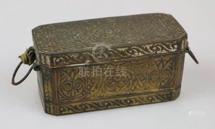 Betelnuss-Behälter, Laos ca. 1850, Bronze mit floralen Silber Intarsien-Einlagen auf Deckel und