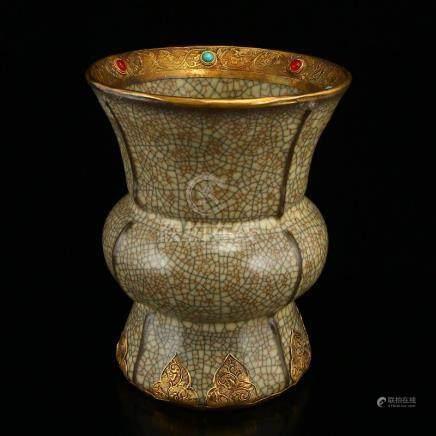 Song Dynasty Ge Kiln Inlay Gold & Gems Porcelain Vase