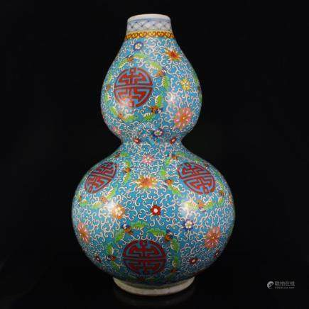 Chinese Cloisonne Inlay Gold Wire Porcelain Gourd Vase