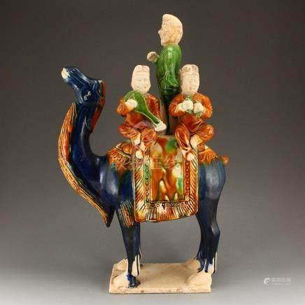 Chinese Tang Sancai Porcelain Figure & Camel Statue