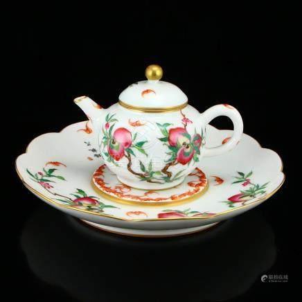 Gilt Edges Famille Rose Porcelain Teapot & Tea Tray