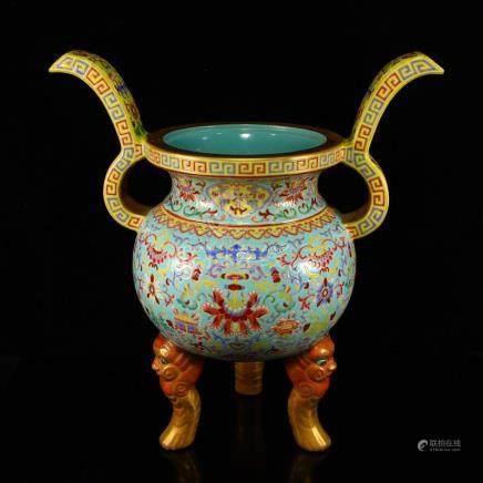 Chinese Gilt Gold Enamel Porcelain Big Incense Burner
