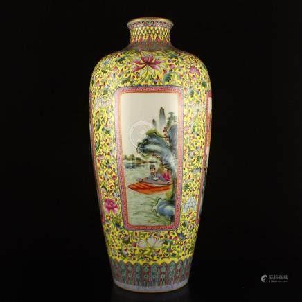 Chinese Yellow Ground Famille Rose Porcelain Big Vase
