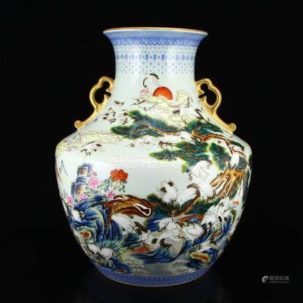 Gilt Edges Famille Rose Porcelain Double Ears Big Jar