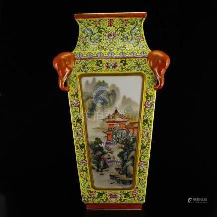 Gilt Gold Yellow Ground Famille Rose Porcelain Vase