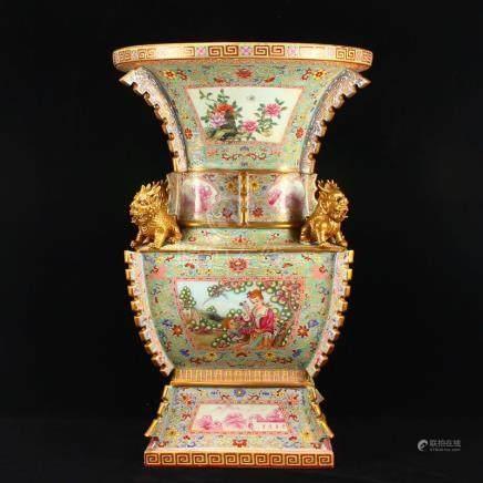 Chinese Gilt Gold Famille Rose Kylin Porcelain Big Vase