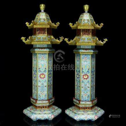 Pair Gilt Gold Enamel Porcelain Buddhism Stupa