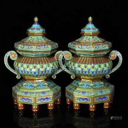 A Pair Gilt Gold Enamel Porcelain Big Incense Burners
