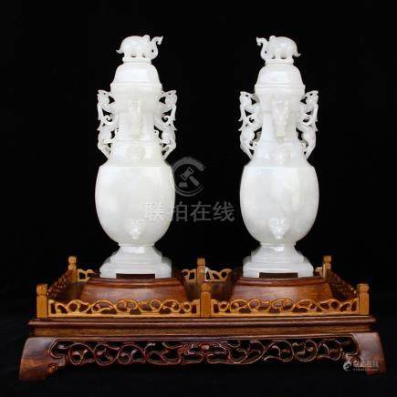 A Pair Chinese Qing Dy Hetian Jade Elephants Vases