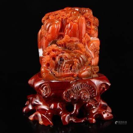 Superb Chinese Nan Hong Agate Statue -Teacher & Student