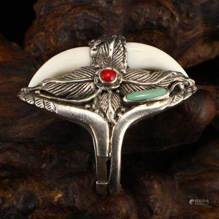 Sterling Silver Inlay Turquoise & Coral Men's Ring