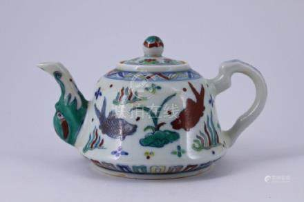 Ming DouCai Porcelain Teapot with Lid
