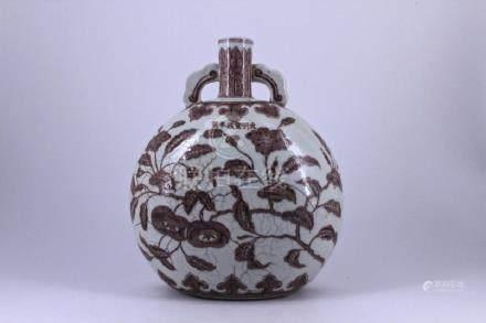 Ming Red&White Floral Porcelain Flask