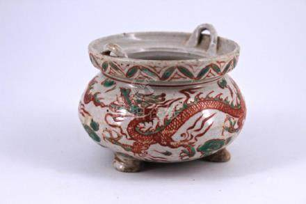 Yuan WuCai Dragon Porcelain Brush Pot
