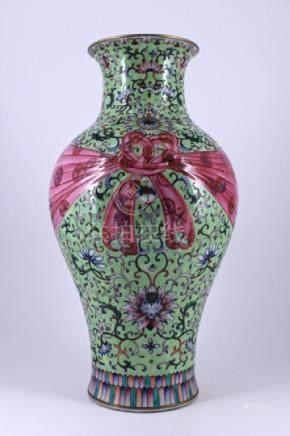 Large Qing Famille Rose Porcelain Vase