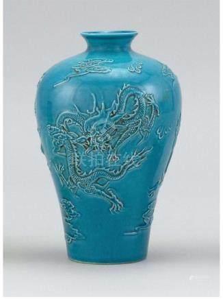 Chinese turquoise glazeporcelain vase,decorated with