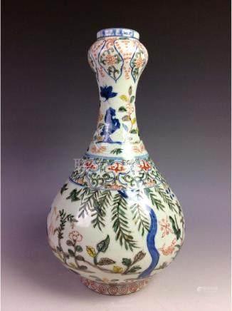 Vintage Chinese porcelain garlic head vase,  decorated