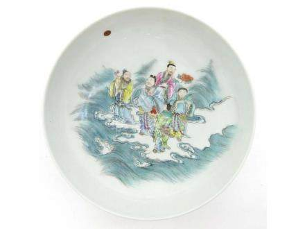 Vintage Chinese polychrome porcelain plates, marked