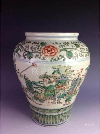 Vintage Chinese porcelain jar, Wucai, decoraed and