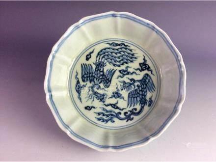 Ming style Chinese porcelian blue & white glazed,