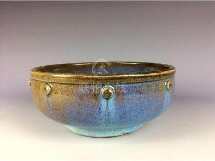Chinese sky blue glaze porcelain bowl  with purple