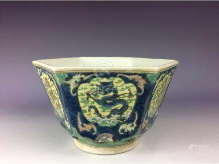 Vintage Chinese hexagonal bowl with dragon and clouds