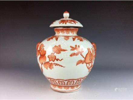 Chinese porcelain pot with lid, red glazed, decorated