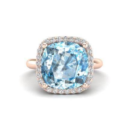 6 CTW Sky Blue Topaz & Halo VS/SI Diamond Ring 14K Gold