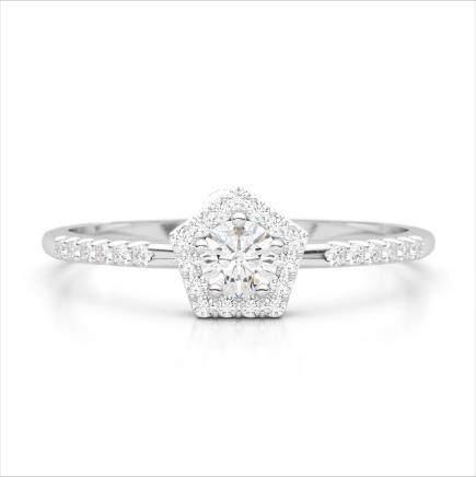 40 CTW VS/SI Diamond Halo Solitaire Ring 18K Gold -