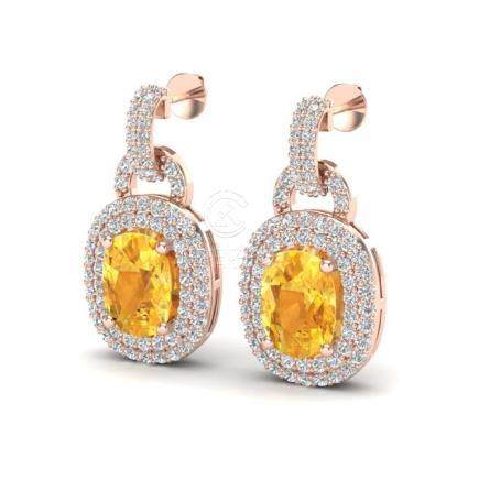 5 CTW Citrine & VS/SI Diamond Pave Earrings Halo 14K