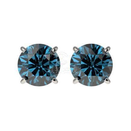 1.55 CTW Intense Blue SI Diamond Stud Earrings Gold -