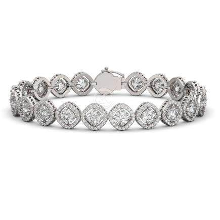 13.06 CTW Cushion Cut Diamond Bracelet 18K White Gold -