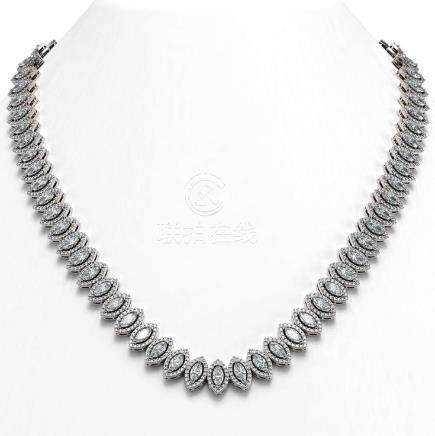 26.11 CTW Marquise Diamond Necklace 18K White Gold -